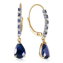 ALARRI 3.35 Carat 14K Solid Gold Naturalpa Sapphire Diamond Earrings