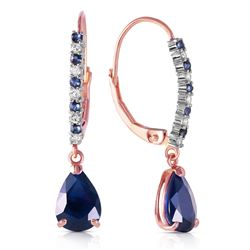 ALARRI 14K Solid Rose Gold Leverback Earrings w/ Natural Diamonds & Sapphires