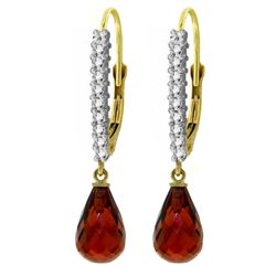 ALARRI 4.8 Carat 14K Solid Gold Leverback Earrings Natural Diamond Garnet