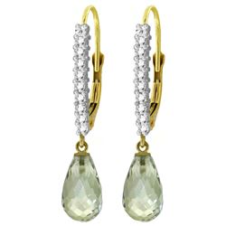 ALARRI 4.8 CTW 14K Solid Gold Leverback Earrings Natural Diamond Green Amethyst