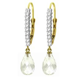 ALARRI 4.8 CTW 14K Solid Gold Leverback Earrings Natural Diamond White Topaz