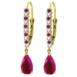 ALARRI 3.35 Carat 14K Solid Gold Naturalpa Ruby Diamond Earrings
