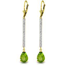 ALARRI 3.6 CTW 14K Solid Gold Last Act Peridot Diamond Earrings