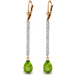 ALARRI 14K Solid Rose Gold Earrings w/ Diamonds & Peridot