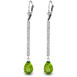 ALARRI 14K Solid White Gold Earrings w/ Diamonds & Peridot