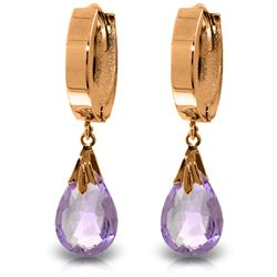 ALARRI 14K Solid Rose Gold Hoop Earrings w/ Natural Amethysts
