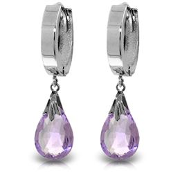 ALARRI 6 CTW 14K Solid White Gold Sea Of Purple Amethyst Earrings