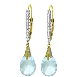 ALARRI 6.3 CTW 14K Solid Gold Cordelia Blue Topaz Diamond Earrings