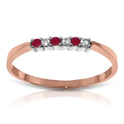 ALARRI 0.11 CTW 14K Solid Rose Gold Love Band Ruby Diamond Ring