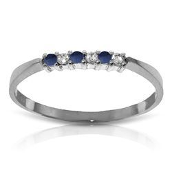 ALARRI 0.11 Carat 14K Solid White Gold Good To Be Loved Sapphire Diamond Ring