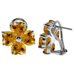 ALARRI 6.5 CTW 14K Solid White Gold Sultry Look Citrine Earrings