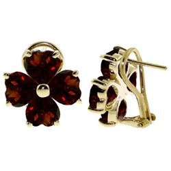 ALARRI 6.5 Carat 14K Solid Gold Heart Cluster Garnet Earrings
