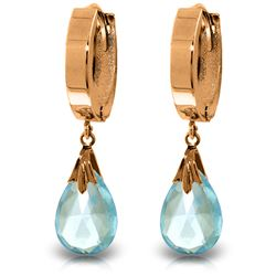 ALARRI 14K Solid Rose Gold Hoop Earrings w/ Natural Blue Topaz