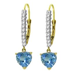ALARRI 3.55 Carat 14K Solid Gold Ursula Blue Topaz Diamond Earrings