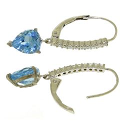 ALARRI 3.55 CTW 14K Solid White Gold Portugal Sky Blue Topaz Diamond Earrings