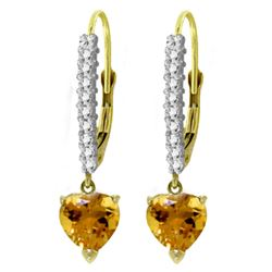 ALARRI 3.55 Carat 14K Solid Gold Leverback Earrings Natural Diamond Citrine