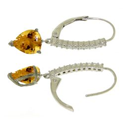 ALARRI 3.55 CTW 14K Solid White Gold Leverback Earrings Natural Diamond Citrine