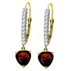 ALARRI 3.55 Carat 14K Solid Gold Leverback Earrings Natural Diamond Garnet