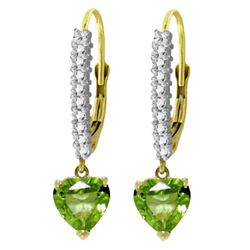 ALARRI 3.55 Carat 14K Solid Gold Leverback Earrings Natural Diamond Peridot