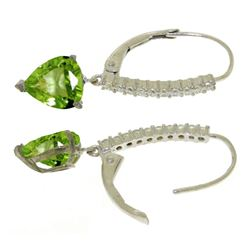 ALARRI 3.55 Carat 14K Solid White Gold Leverback Earrings Natural Diamond Peridot