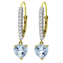 ALARRI 3.55 Carat 14K Solid Gold Leverback Earrings Natural Diamond Aquama