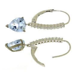 ALARRI 3.55 CTW 14K Solid White Gold Leverback Earrings Natural Diamond Aquamari