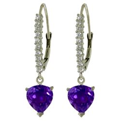 ALARRI 3.55 Carat 14K Solid White Gold Heart Aches Amethyst Diamond Earrings