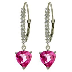 ALARRI 3.55 CTW 14K Solid White Gold Understanding Prospers Pink Topaz Earrings