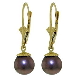 ALARRI 4 Carat 14K Solid Gold Leverback Earrings Natural Black Pearl