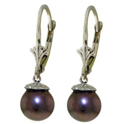 ALARRI 4 Carat 14K Solid White Gold Leverback Earrings Natural Black Pearl