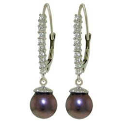 ALARRI 8.3 Carat 14K Solid White Gold Leverback Earrings Diamond Black Pearl