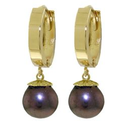 ALARRI 4 Carat 14K Solid Gold Hoop Earrings Natural Black Pearl
