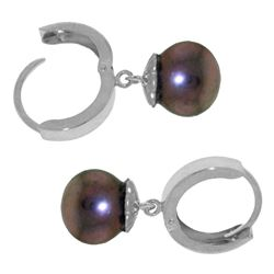 ALARRI 4 Carat 14K Solid White Gold Hoop Earrings Natural Black Pearl