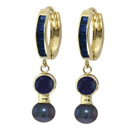 ALARRI 4.65 CTW 14K Solid Gold Huggie Earrings Black Pearl Sapphire