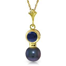 ALARRI 1.23 Carat 14K Solid Gold Necklace Sapphire Black Pearl
