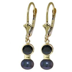 ALARRI 5.2 Carat 14K Solid Gold Leverback Earrings Black Pearl Sapphire