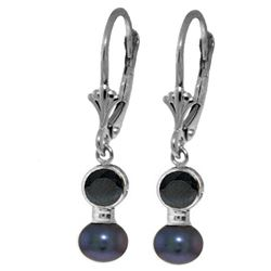 ALARRI 5.2 CTW 14K Solid White Gold Leverback Earrings Black Pearl Sapphire
