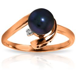 ALARRI 14K Solid Rose Gold Ring w/ Natural Diamond & Black Pearl
