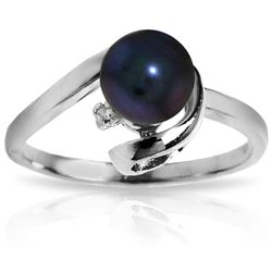 ALARRI 1.01 Carat 14K Solid White Gold Ring Natural Diamond Black Pearl