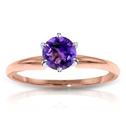 ALARRI 14K Solid Rose Gold Solitaire Ring w/ Natural Purple Amethyst