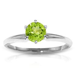 ALARRI 0.65 CTW 14K Solid White Gold Solitaire Ring Natural Peridot