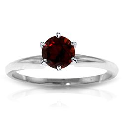 ALARRI 0.65 Carat 14K Solid White Gold Solitaire Ring Natural Garnet