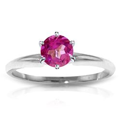 ALARRI 0.65 Carat 14K Solid White Gold Solitaire Ring Natural Pink Topaz