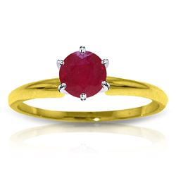 ALARRI 0.65 Carat 14K Solid Gold Solitaire Ring Natural Ruby