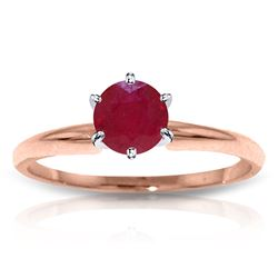 ALARRI 14K Solid Rose Gold Solitaire Ring w/ Natural Ruby