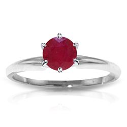 ALARRI 0.65 Carat 14K Solid White Gold Solitaire Ring Natural Ruby