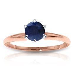 ALARRI 14K Solid Rose Gold Solitaire Ring w/ Natural Sapphire
