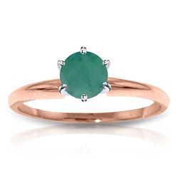 ALARRI 14K Solid Rose Gold Solitaire Ring w/ Natural Emerald