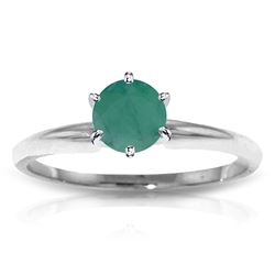 ALARRI 0.65 Carat 14K Solid White Gold Solitaire Ring Natural Emerald
