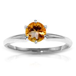 ALARRI 0.65 CTW 14K Solid White Gold Solitaire Ring Natural Citrine